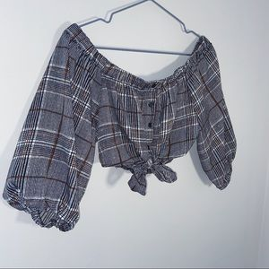 Plaid tie up cropped 1/4 sleeve blouse